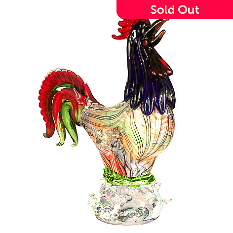 406-240 - Favrile 14'' Hand-Blown Art Glass Farmhouse Rooster Figurine