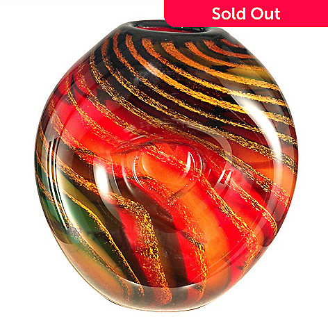 406-242 - Favrile Art Glass 9.5'' Hand-Blown Striped Heart Vase