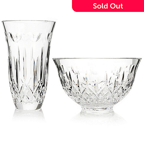 406-257 - Waterford Crystal 60th Anniversary ''I Love Lismore'' Signed Vase & Bowl Set