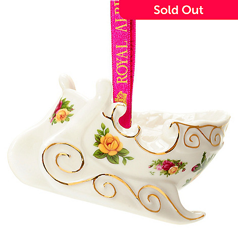 406-278 - Royal Albert® Old Country Roses 2-1/3'' Porcelain Figural Sleigh Ornament