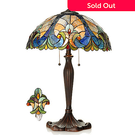 406-298 - Tiffany-Style 24'' Halston Stained Glass Table Lamp & Nightlight Set