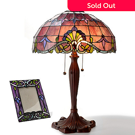 406-300 - Tiffany-Style 25'' Allistar Stained Glass Table Lamp & Photo Frame Set