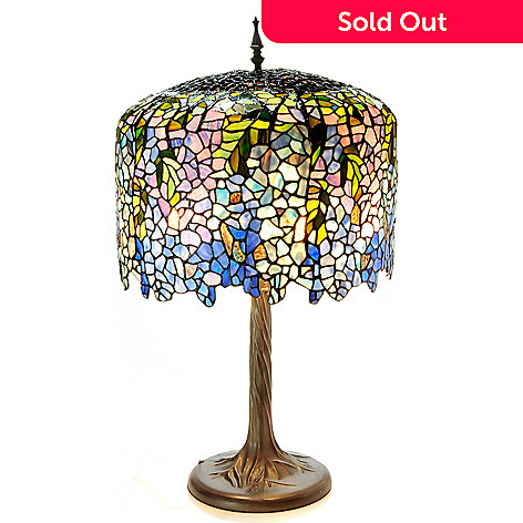 406-303 - Tiffany-Style 29.5'' Grand Wisteria Stained Glass Table Lamp