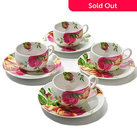 406-332 - Royal Albert® Country Rose Set of Four Espresso Cups & Saucers
