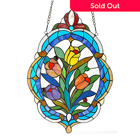 406-374 - Tiffany-Style 22'' x 15.5'' Tulip Bouquet Hanging Stained Glass Window Panel