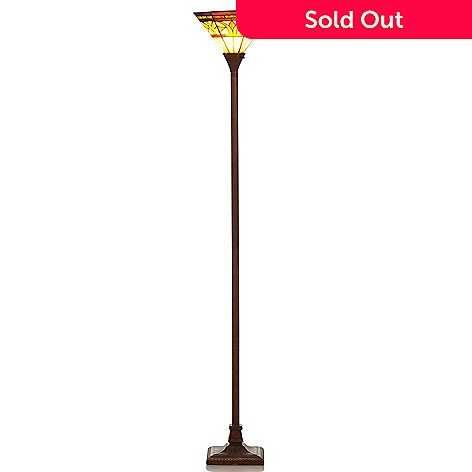 406-375 - Tiffany-Style 73'' Mission Palm Stained Glass Torchiere Lamp