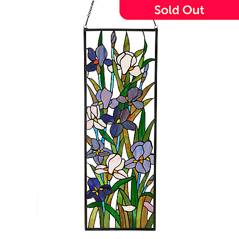 406-383 - Tiffany-Style 32'' x 11'' Blooming Iris Hanging Stained Glass Window Panel