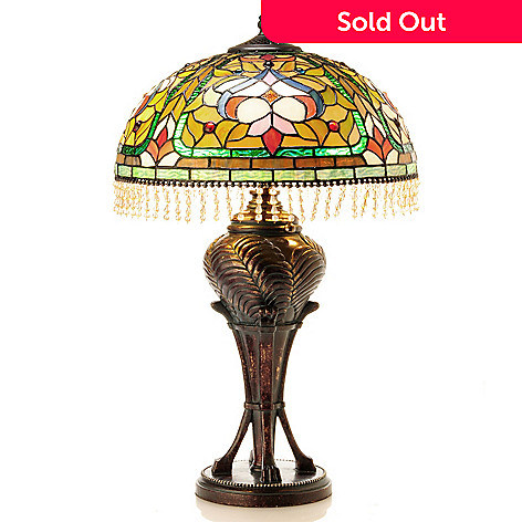 406-386 - Tiffany-Style 25.5'' Elsa Beaded Stained Glass Table Lamp