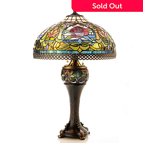 406-387 - Tiffany-Style 29.5'' Spring Garden Double Lit Stained Glass Table Lamp