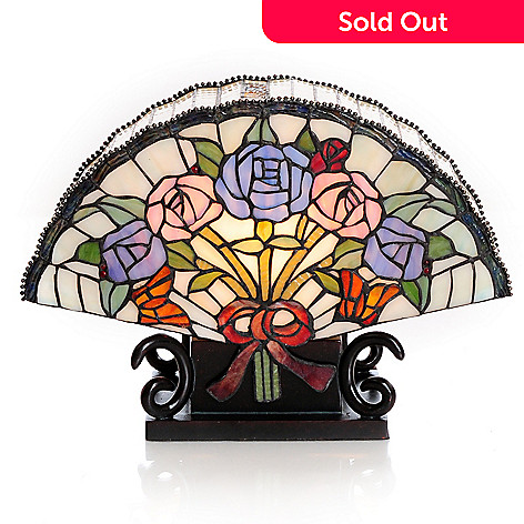 406-395 - Tiffany-Style Lighting 11.25'' Zhe Shang Fan Stained Glass Accent Lamp
