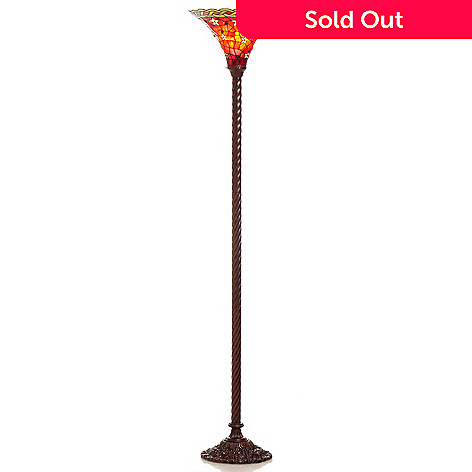 406-406 - Tiffany-Style 68'' Red Star Stained Glass Torchiere Floor Lamp