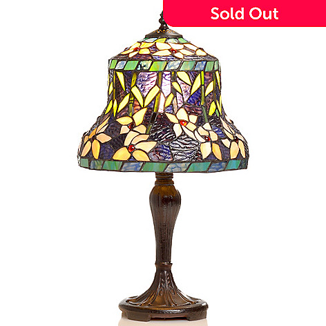 406-408 - Tiffany-Style 20'' Blue Lily Stained Glass Table Lamp