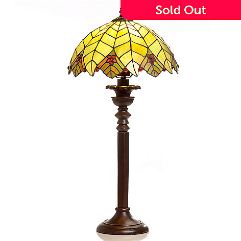 406-409 - Tiffany-Style 25'' Palm Tree Stained Glass Table Lamp
