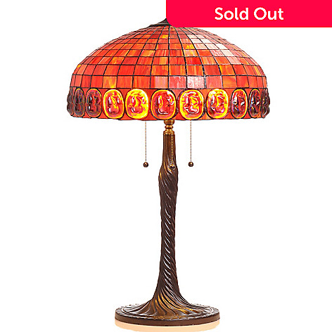 406-415 - Tiffany-Style 31'' Blaze Turtleback Stained Glass Table Lamp