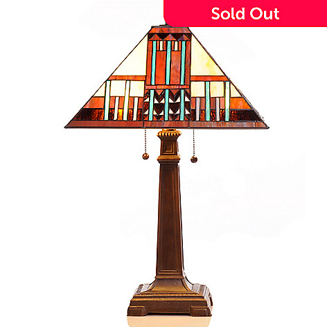 406-419 - Tiffany-Style 25'' Multi Colored Mission Art Deco Stained Glass Table Lamp