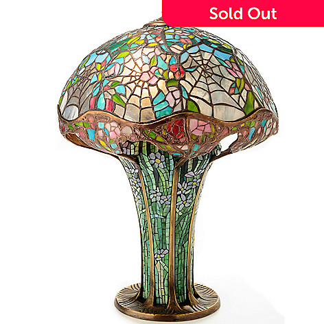 406-729 - Tiffany-Style 25.5'' Cobweb Stained Glass Table Lamp w/Mosaic Base