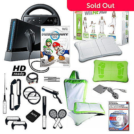 422-355 - Nintendo Wii Black Bundle w/ Mario Kart, Wii Fit Plus & 17-in-1 Accessory Pack