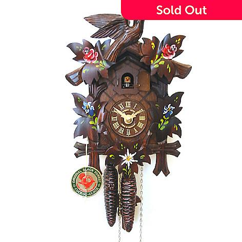 429-189 - Hubert Herr Alpine Flowers One-Day Hand Crafted Cuckoo Clock