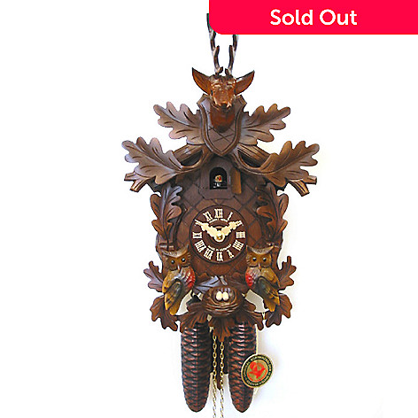 429-191 - Hubert Herr Stag Head & Moving Owls Eight-Day Hand Crafted Cuckoo Clock