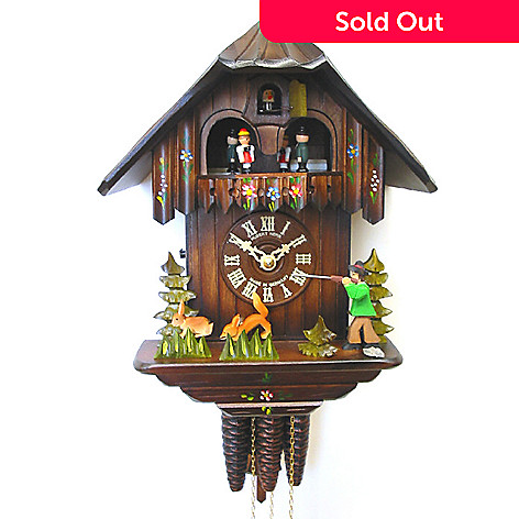 429-195 - Hubert Herr Black Forest Chalet & Moving Hunter One-Day Cuckoo Clock