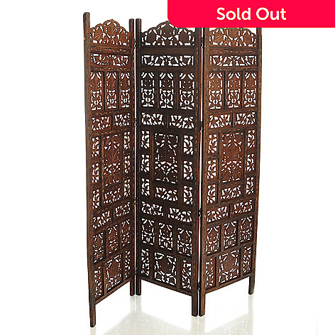 429-414 - Style at Home with Margie 72'' Hand-Carved Mango Wood Three-Panel Floor Screen
