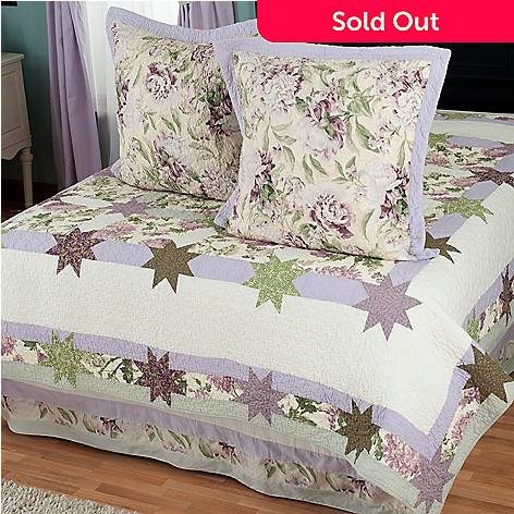 429-607 - North Shore™ Collectible Quilts ''Twilight Garden'' Euro Sham Pair & Bed Skirt Set