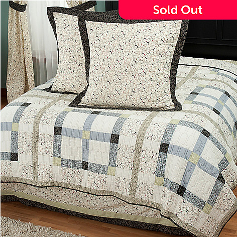 429-615 - North Shore™ Collectible Quilts ''Townhouse'' Euro Sham Pair & Bedskirt Set