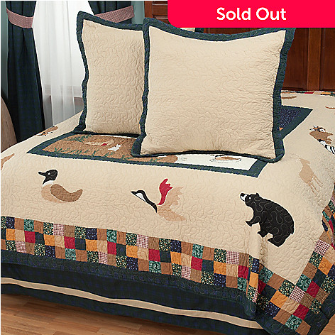 429-619 - North Shore™ Collectible Quilts ''Bear Mountain'' Euro Sham Pair & Bedskirt Set