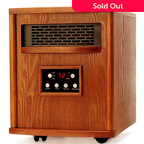 429-691 - LifeSmart 1500W Quartz Infrared Portable Oak Finish Cabinet Heater