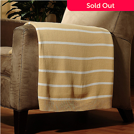 429-735 - North Shore Linens™ 60'' x 50'' Striped Cotton Sweater Throw