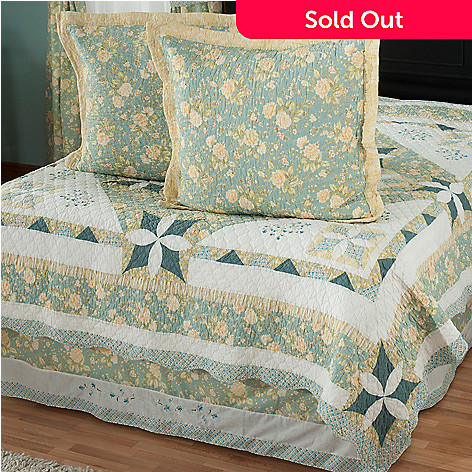 429-740 - North Shore™ Collectible Quilts ''Meadow Song'' Euro Sham Pair & Bed Skirt Set