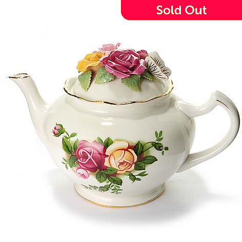 429-792 - Royal Albert® Old Country Roses Sculpted Rose 42 oz Porcelain Floral Teapot