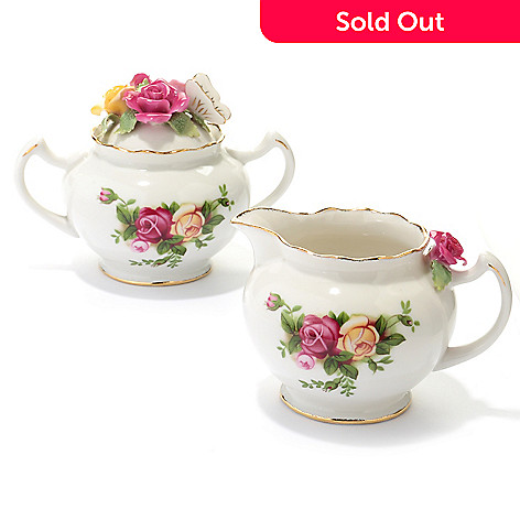 429-793 - Royal Albert® Old Country Roses Sculpted Rose Cream & Sugar Set