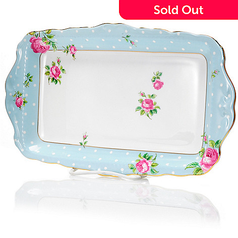 429-868 - Royal Albert® Polka Rose 11.5'' Porcelain Blue Sandwich Tray