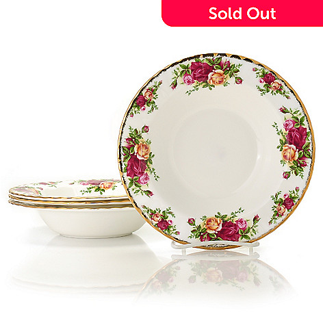 429-902 - Royal Albert Old Country Roses Set of Four 8'' Bone China Rim Soup Bowls