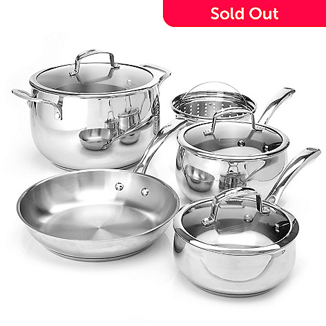 430-138 - Macy's Tools of the Trade Belgique Eight-Piece Stainless Steel Cookware Set