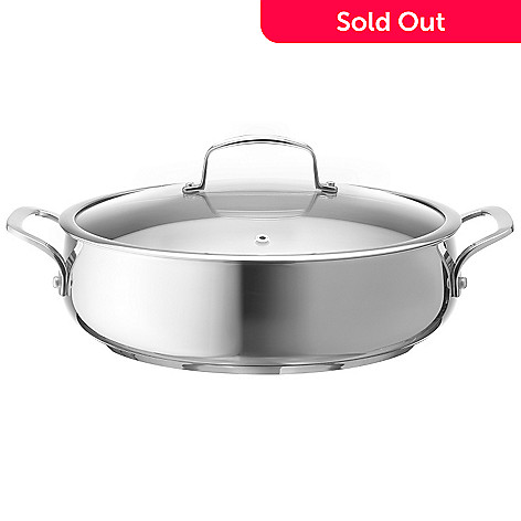 430-146 - Macy's Tools of the Trade® Belgique® 5 Quart Stainless Steel Sauteuse w/ Tempered Glass Lid