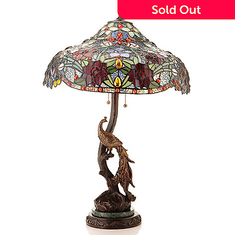430-172 - 26.5'' Elegant Peacock Stained Glass Table Lamp