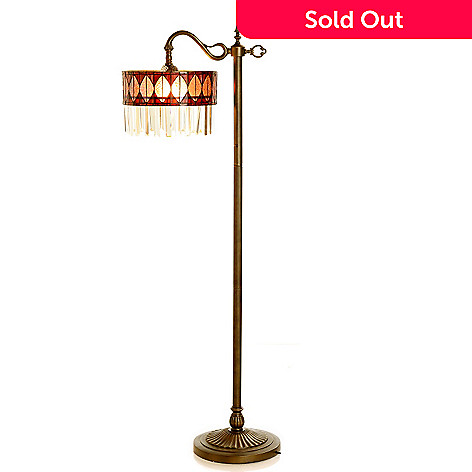 430-175 - Style at Home with Margie 60.5'' Mauveine Glass & Crystal Side Arm Floor Lamp