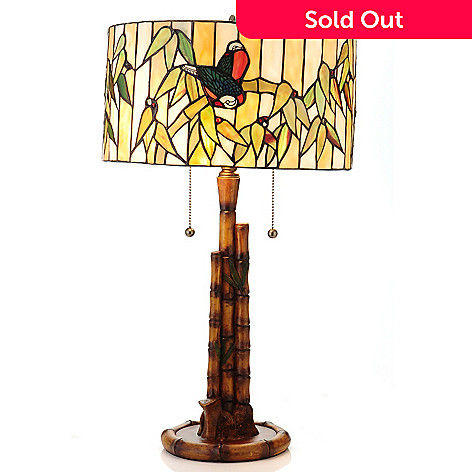 430-259 - Tiffany-Style 23.25'' Peruvian Bamboo Stained Glass Table Lamp