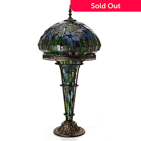 430-260 - Tiffany-Style 33.5'' Blooming Lilies Stained Glass Table Lamp