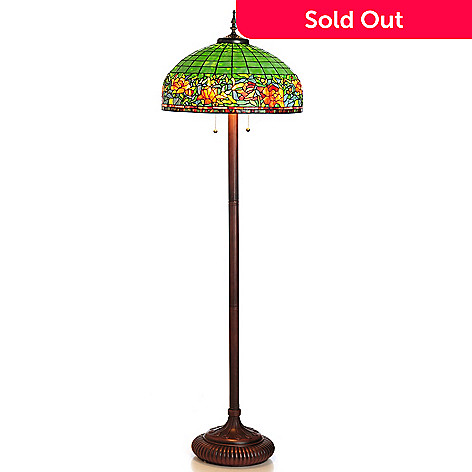 430-270 - Tiffany-Style 64.5'' Peony Flower Stained Glass Floor Lamp