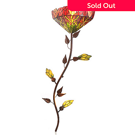 430-280 - Tiffany-Style 52'' Climbing Rose Stained Glass Wallchiere