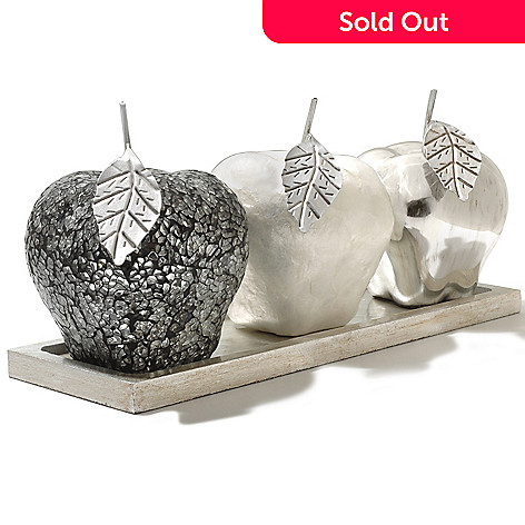 430-319 - Set of Three Decorative Apples w/ Tray