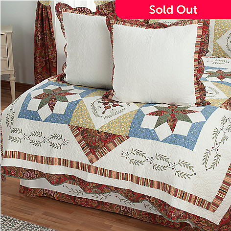 430-326 - North Shore™ Collectible Quilts ''Star Sampler'' Euro Sham Pair & Bed Skirt Set