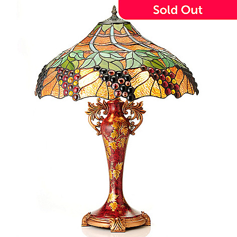 430-446 - Tiffany-Style 27'' Lana's Vineyard Stained Glass Table Lamp