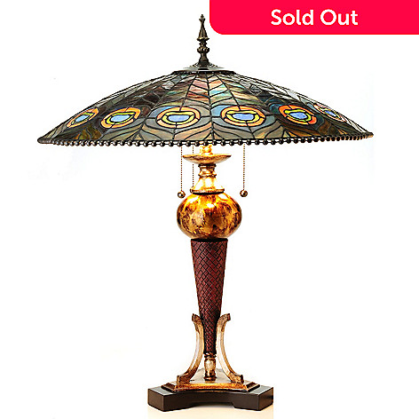 430-448 - Tiffany-Style 27.75'' Feathering Peacock Stained Glass Table Lamp