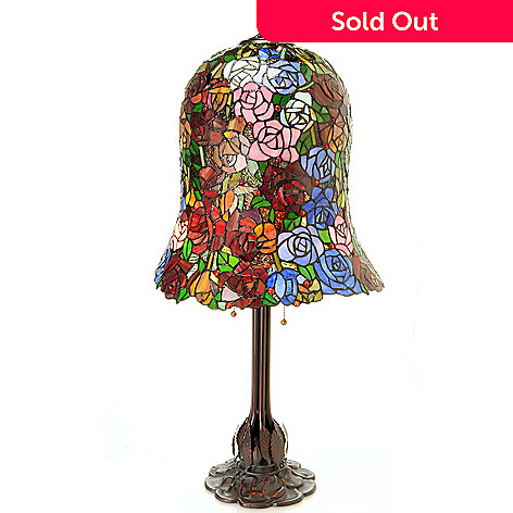 430-449 - Tiffany-Style 34.5'' Hanging Rosa Stained Glass Table Lamp