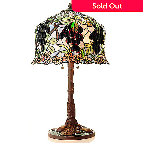 430-451 - Tiffany-Style 27'' Primrose Vineyard Stained Glass Table Lamp