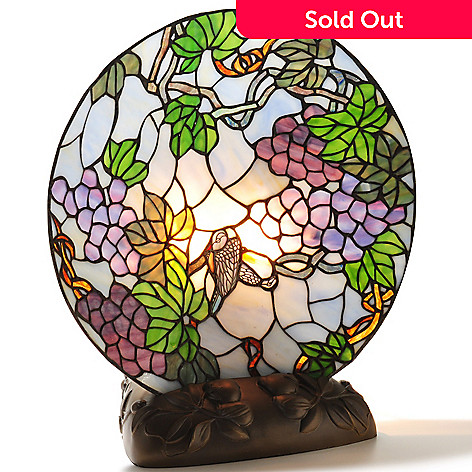 430-454 - Tiffany-Style 16.75'' Sparrow's Vineyard Stained Glass Lit Plate on Stand